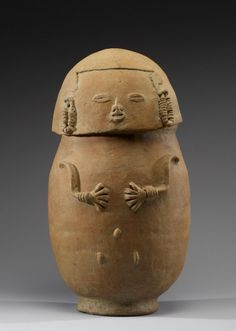 """Figural urns found in chambers inside deep shaft tombs are  abundant in northwestern Colombia. This is at the Walters Art Museum in the special exhibition """"Exploring Art of the Ancient Americas: The John Bourne Collection Gift."""""""