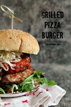 (Canada) Grilled Pizza Burger | Stuffed with pizza mozzarella, and loaded with sauce, this grilled pizza burger is sure to rock your world!