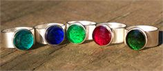 Recycled Glass Silver Rings - recycled jewelry