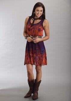 Stetson® Puprle Tie Dye Georgette Western Dress