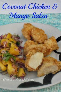 Coconut Chicken and Mango Salsa ~ Taste from the Islands in both the Chicken and the Salsa and so quick & easy to make #Chicken #Salsa #MangoSalsa