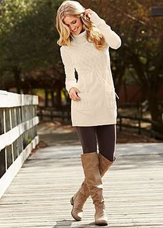long, lean tunic sweater and leggings with boots.