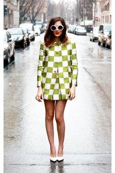 Street style - fun green and white checks (=)