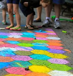 Can't wait to see some colourful sidewalks in the neighbourhood #indigo #perfectsummer  Perfect for the grandbabies. teach them hopscotch...relive your childhood.