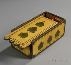 AMERICAN FURNITURE  DECORATIVE ARTS - SALE 2608M - LOT 885 - YELLOW PAINT-DECORATED SLIDE-LID BOX, AMERICA, EARLY 19TH CENTURY, THE TOP AND SIDES ORNAMENTED WITH LEAF AND BERRY MOTIFS, (MINOR I... - Skinner Inc