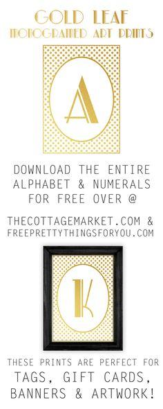 Monogram Printables: Free Gold Leaf Art Prints - Free Pretty Things For You