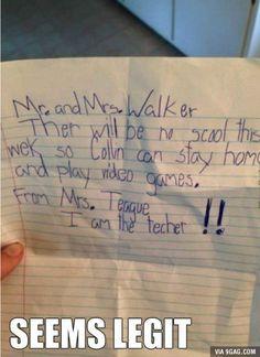 A Letter from teacher