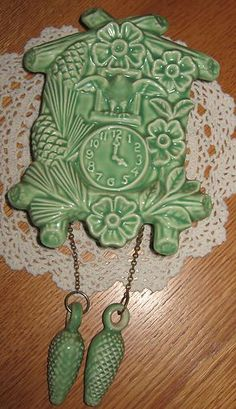 McCoy green cuckoo clock wall pocket...