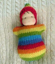 sweater babi, waldorf doll, rainbow sweater