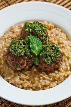 Lamb and Mint Meatballs with Farro Risotto and Cilantro Pesto
