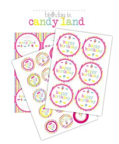 Candy Land Birthday Cake - with free printables!pinned from www.bitsofsunshine.com