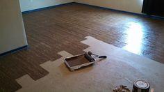 Painted Plywood Floors | Chipboard plywood painted to look like wood floor panels. | DIY