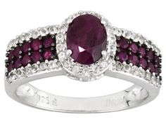Mahaleo Ruby 1.60ctw With White Topaz .46ctw Round Sterling Silver Ring