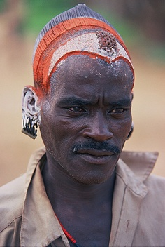 Africa | Colorful Hamer man. Lower Omo valley. Ethiopia