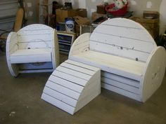 Patio furniture made from wooden cable spools