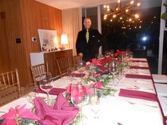 Modern Christmas Holiday table with smart catering event manager; ahem...if I do say so myself.
