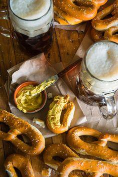 Ahhh, beer + pretzels, slathered in mustard <3   The Framed Table