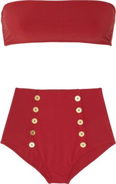 ShopStyle: Yves Saint Laurent High-waisted bandeau bikini