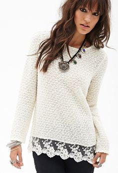 Loop Yarn Lace Sweater #F21StatementPiece