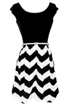 Black and Ivory Chevron Print Belted Dress
