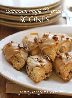 Cinnamon Swirled Scones with Maple Pecan Glaze