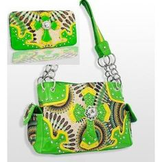 Lime Green and Yellow Cross Purse W Matching Wallet In Stock 62.99