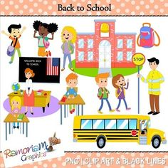 12 Back to school PNG images. Each image is 300dpi in Black and White, colored with colored outlines and colored with black outlines