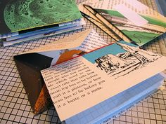 "From my 'Mail Art Inspiration' board:  ""Let's Make Snail Mail!"" This is a great idea for using pages from old books which are falling apart."