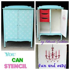 Stencil Tutorial- Easy How-To  - Petticoat Junktion - using Stencil Ease's Verona Tile Wall and Floor Stencil.