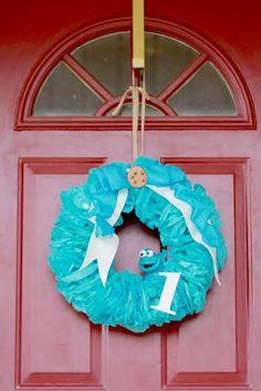 cookie monster wreath
