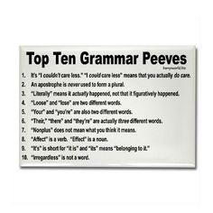 grammar peev, grammar rules, pet peeves, ten grammar, teacher