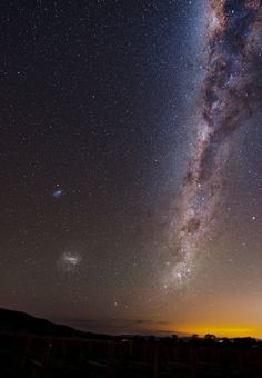 The Milky Way, as seen from Australia. (Magellanic Clouds at left)