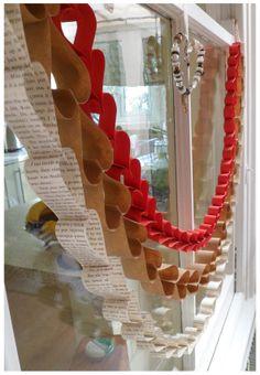 decor, holiday, craft valentin, paper heart garland, crafti