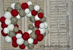 Red, grey, white yarn ball wreath