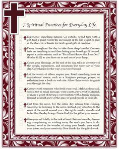 A list of spiritual practices to establish a balanced way of life.    #Pray #spirituality #spiritual #Catholic #Catechist