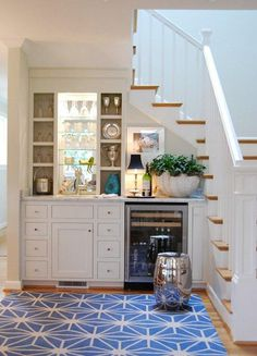 Small wet bars can pop up in any space - under/beside the stairs is a great option