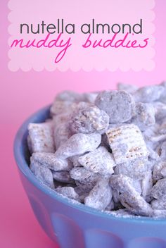 Nutella Almond Muddy Buddies puppy chow, sweet snacks, puppi chow, muddi buddi, almond muddi, peanut butter, nutella, treat, dessert