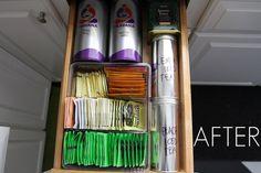 organized tea drawer