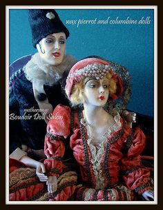 boudoir doll French wax  pierrot and columbine