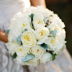 Elegant Formal Bouquet | This bridal bouquet features David Austin roses, dusty miller, and brunia berries. | SouthernLiving.com