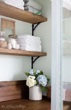 Laundry Room   Rustic Wood Shelves   Old Door Countertop