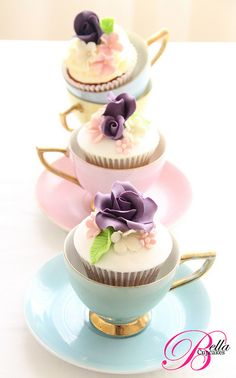 Cute way to serve cupcakes in teacups.