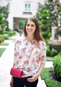 Blogger Brooke du jour dresses up her Gap jeans with a floral print top and pops of pink.