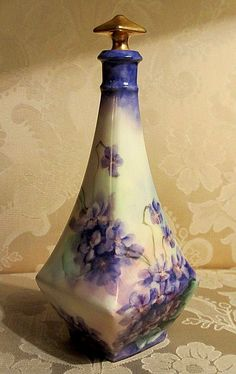 Antique Limoges Perfume Scent Bottle Hand Painted Violets Gold