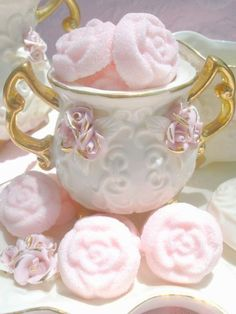 Soft Pink Sugar Roses for coffee and tea
