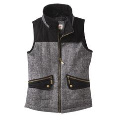 Mossimo Supply Co. Junior's Vest w/ Fur Collar -Black/White