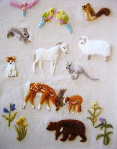 japanese wool felt embroidery - beautiful