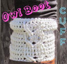 free crochet pattern Trendy Owl Boot Cuff