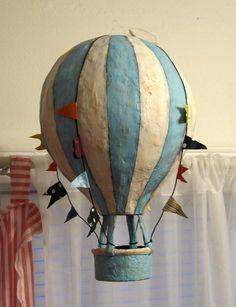 Blue and White Striped Hot Air Balloon