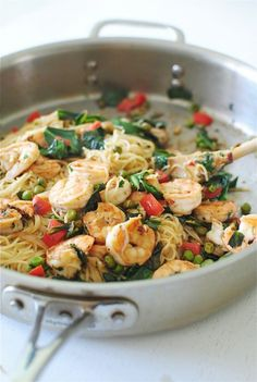 Angel Hair with Seared Shrimp and Greens / Bev Cooks